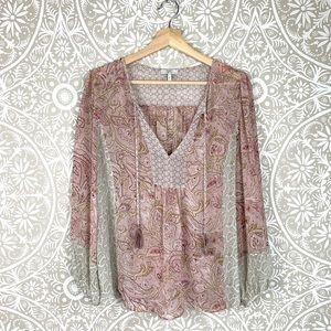 Joie Pink Silk Boho Blouse